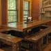 Nantahala River Lodge - The handmade Chestnut Log dining table is a favorite gathering plac