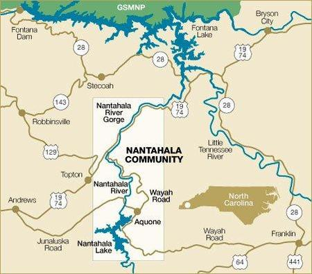 Nantahala River Map Location   Nantahala Cabins   Smoky Mountain Cabins   North Carolina